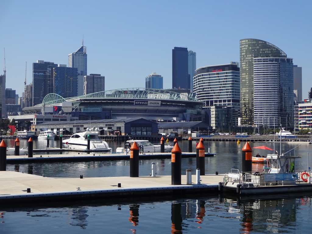 Etihad Stadium as seen from Waterfront City, Melbourne