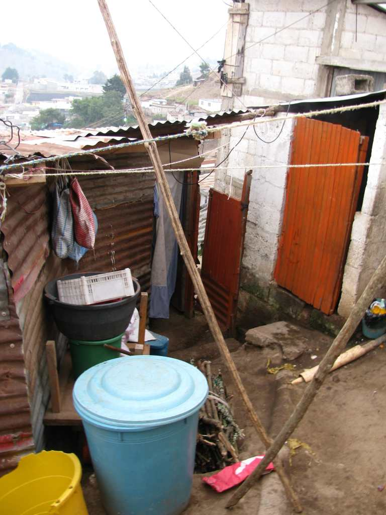 The 'patio' area of the home we visited in a Xela slum, Guatemala