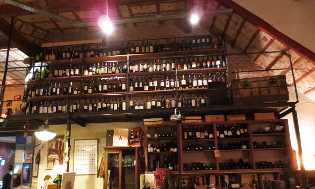 Walls covered with wines at Cava Jufré, Buenos Aires, Argentina