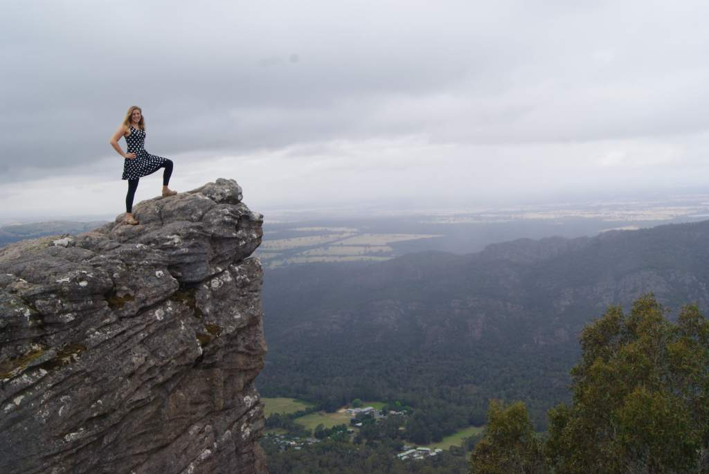 Standing on a cliff at the Pinnacle, Grampians National Park, Australia