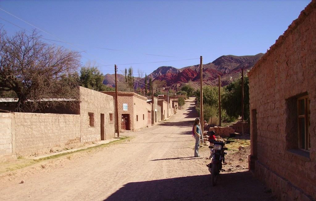 Typical street in the mountainous towns of La Quebrada de Humahuaca, Argentina