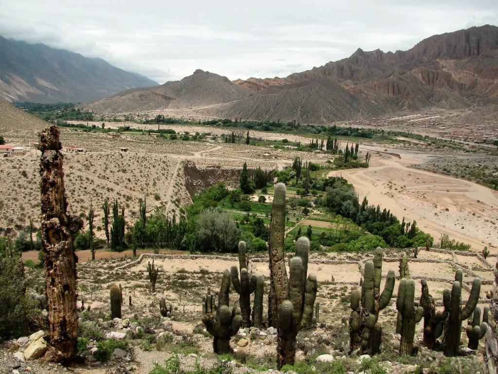 View of the Rio Grande valley from Pucará de Tilcara, Quebrada de Humahuaca, Argentina