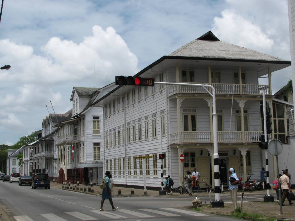 Colonial buildings in the heart of Paramaribo, Suriname