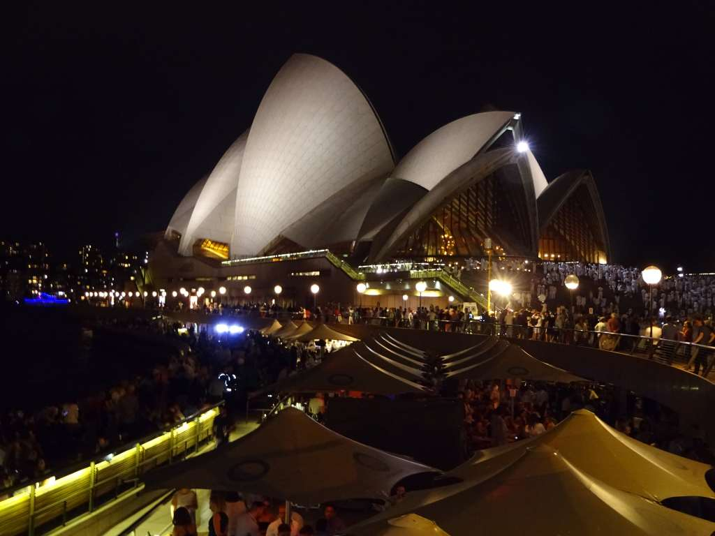 Opera Bar and Sydney Harbour by night