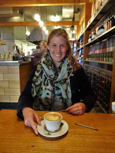 Happy after receiving a new coffee replacing the spilled one, Amorosa, Williamstown, Melbourne