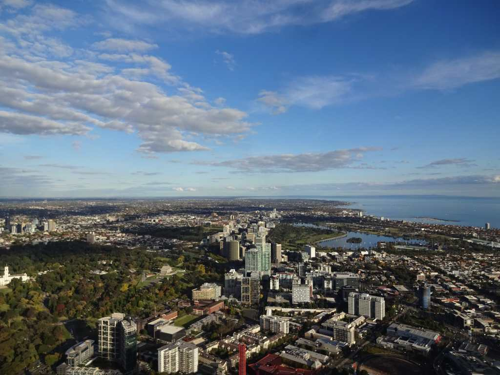 Botanical Gardens, Albert Park and Port Phillip Bay, seen from Eureka Tower, Melbourne