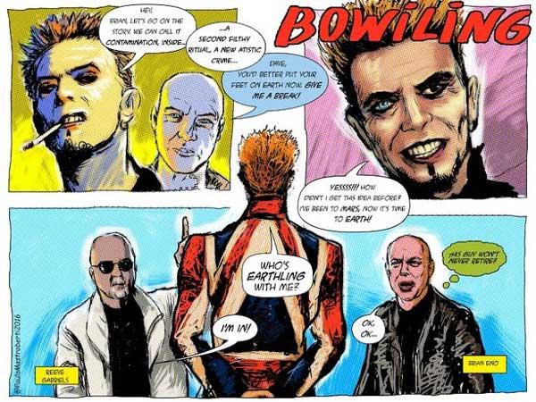 histórias em quadrinhos de david bowie em cartaz na galeria hipotética em porto alegre