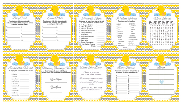 Yellow  Gray Rubber Ducky Baby Shower Games - Cupcakemakeover