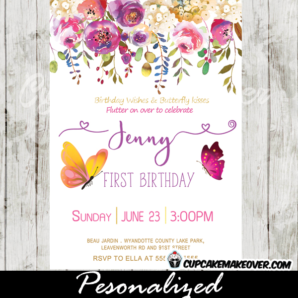 Butterfly Birthday Invitations, Pink Purple Garden Flowers