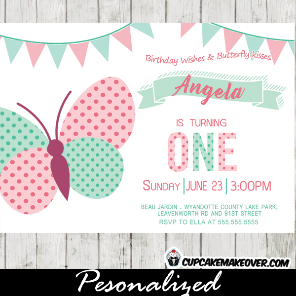Butterfly Birthday Invitations, Pink Mint Green Bunting