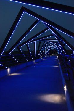 High Trestle Bridge cloaked in blue glow