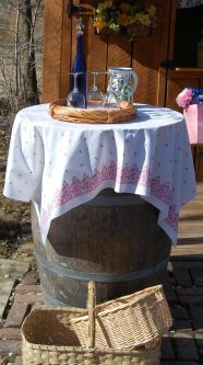 wine barrel serving table