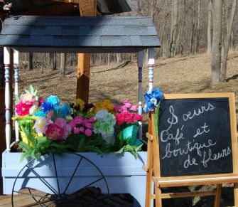 flower cart filled with paper flowers