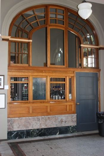 former post office stamp window- now La Poste wine bar