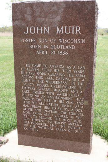 Muir memorial marker cut from local red granite