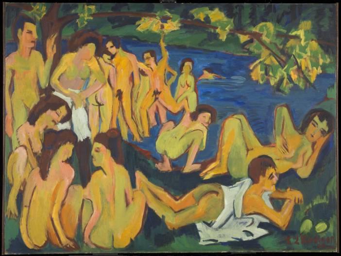"""Ernst Ludwig Kirchner, """"Bathers at Moritzburg"""", 1909–26."""
