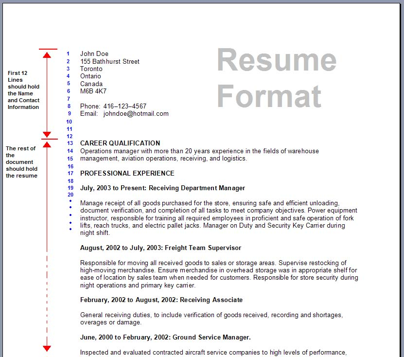 sample canadian resume format - Intoanysearch