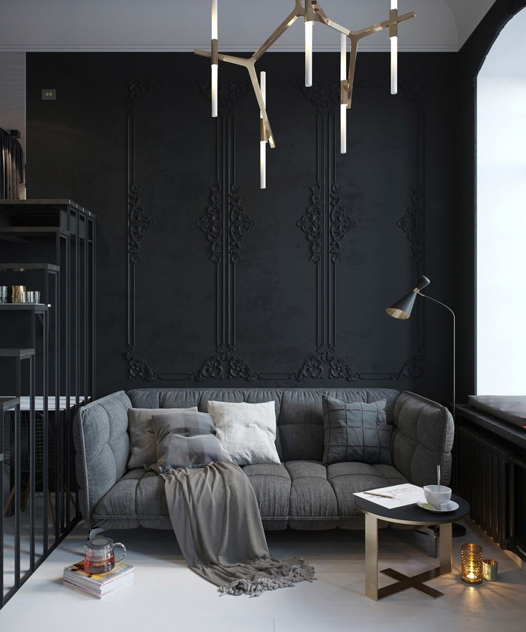 Texture Walls Design 28 Ideas For Black Wall Interiors How To Style Them