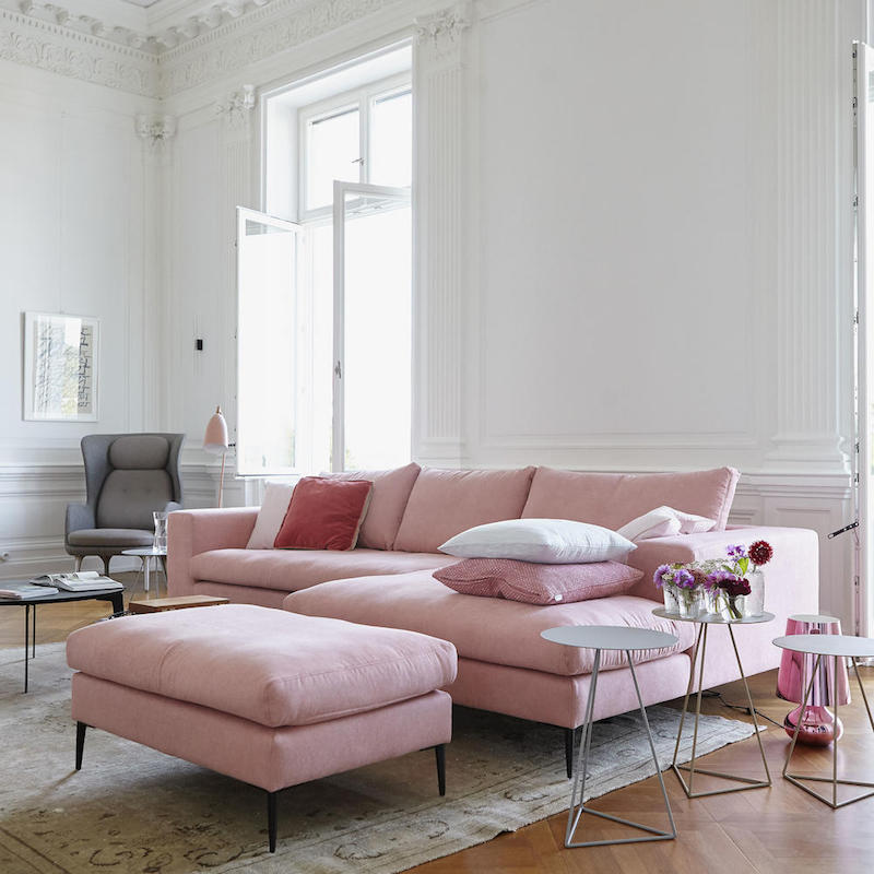 Ikea Grauer Sessel 16 Chic Blush Pink Sofas & How To Style Them!