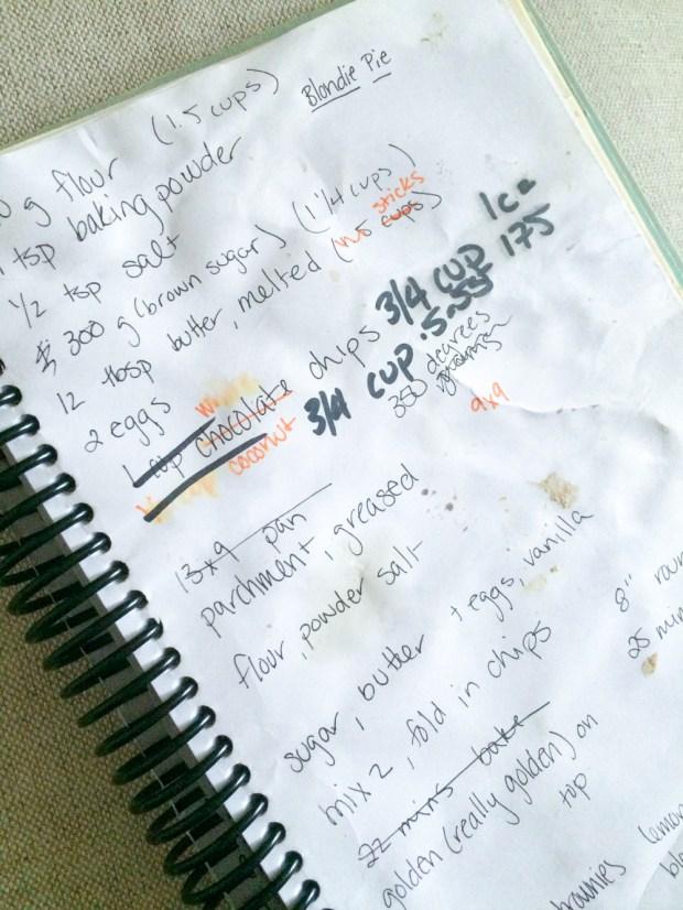 gluten-free cookie bar recipe scribbled in my notebook