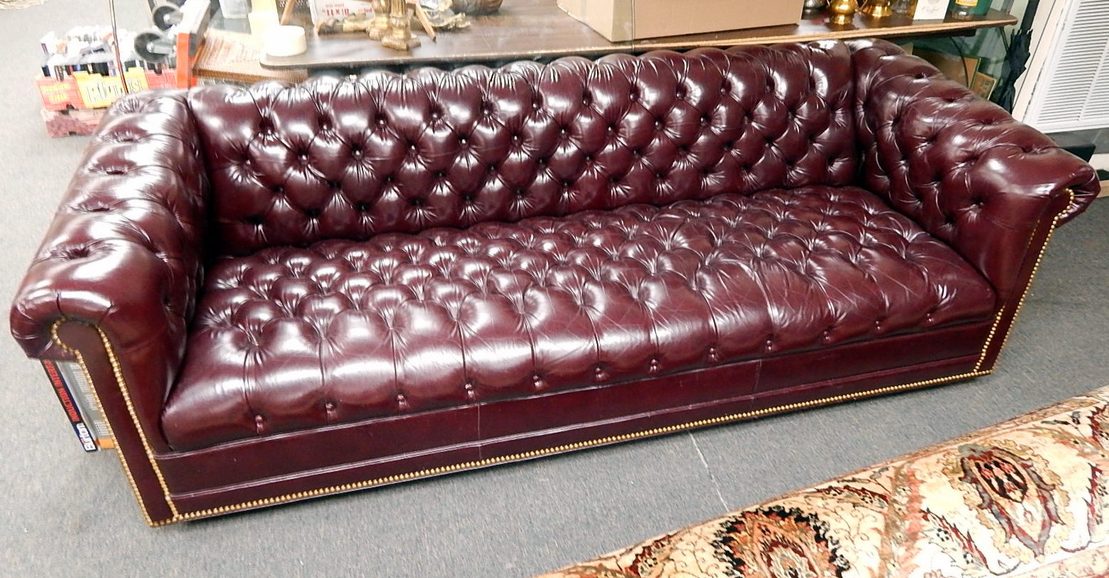 Sofa Couch Or Chesterfield Chesterfield Burgundy Leather Sofa Couch Nailhead Tufted Buttoned