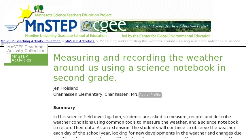 Measuring and recording the weather around us using a science
