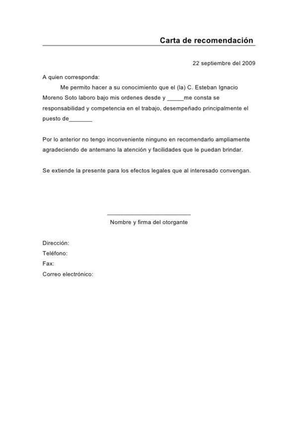 modelo carta de recomendacion xv-gimnazija