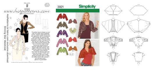 HotPatterns Shining Star Vest, Simplicity 3921, Vogue 9016 (views C and D)