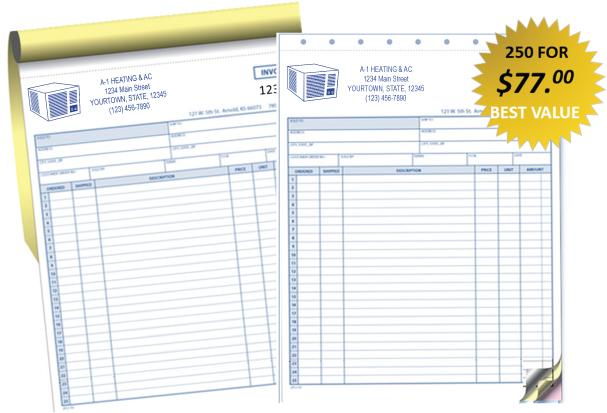 HVAC Service Invoices Custom Printed