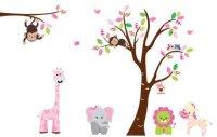 Fungoo large colorful tree & jungle animals wall sticker ...