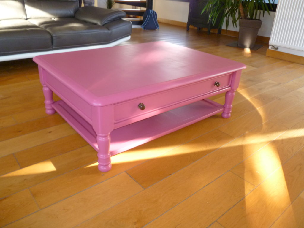 Table Basse Relookée Table Basse Relookée Rose 1 Custom Bazar