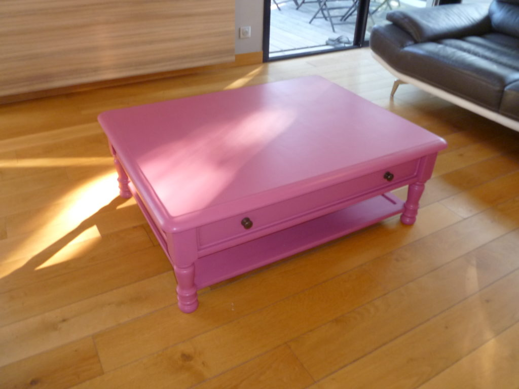 Table Basse Relookée Table Basse Relookée Rose 2 Custom Bazar