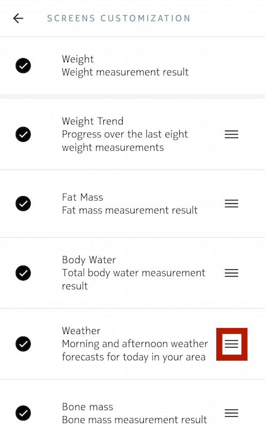 Body+ - Customizing the screens \u2013 Withings Support - weight by measurements