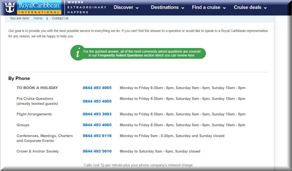 royalcaribbean contact numbers - UK Customer Service Contact Numbers