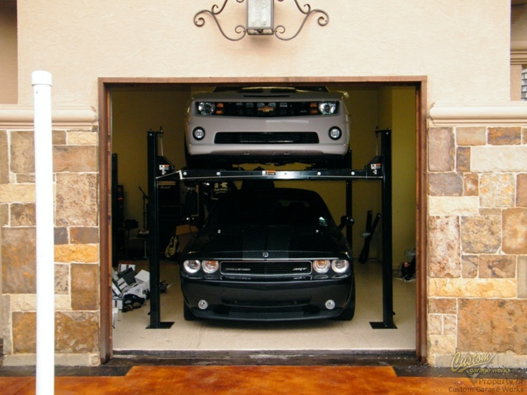 Garage Car Lift For Storage Garage Car Lifts Installed By Custom Garage Works In Fort Worth Tx