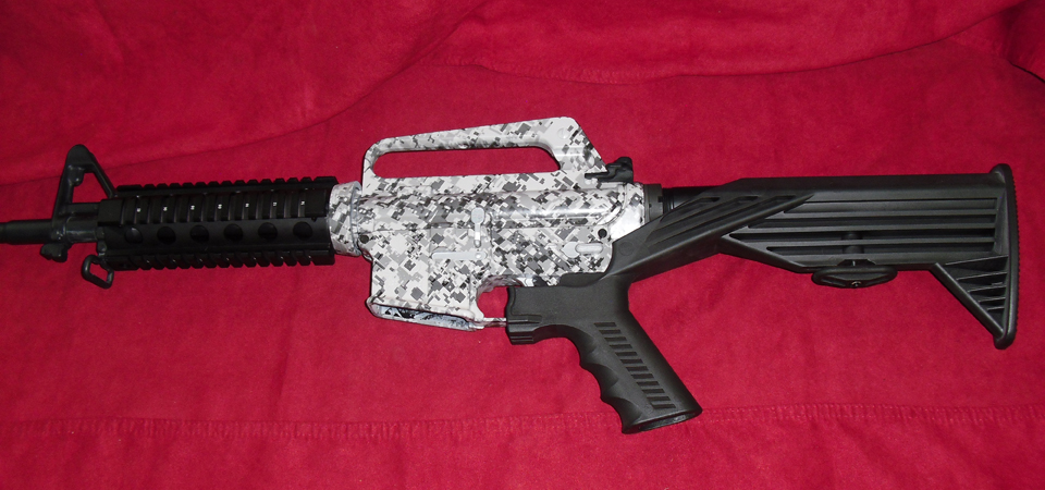 AR15 in DuraCoat High Temp Black and WTP-460 Snow Leopard Digital Hydrographics