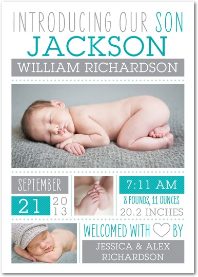 baby boy announcement collage tiny prints - Custom Printing Deals