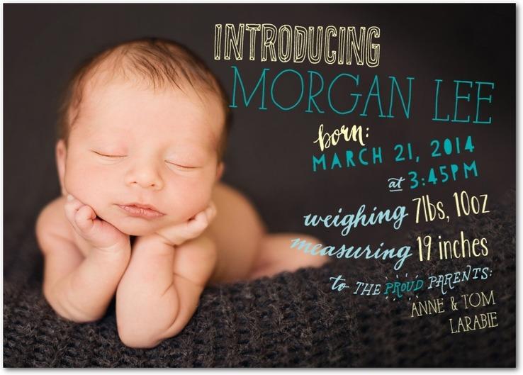 baby boy announcement tiny prints - cool typography - Custom