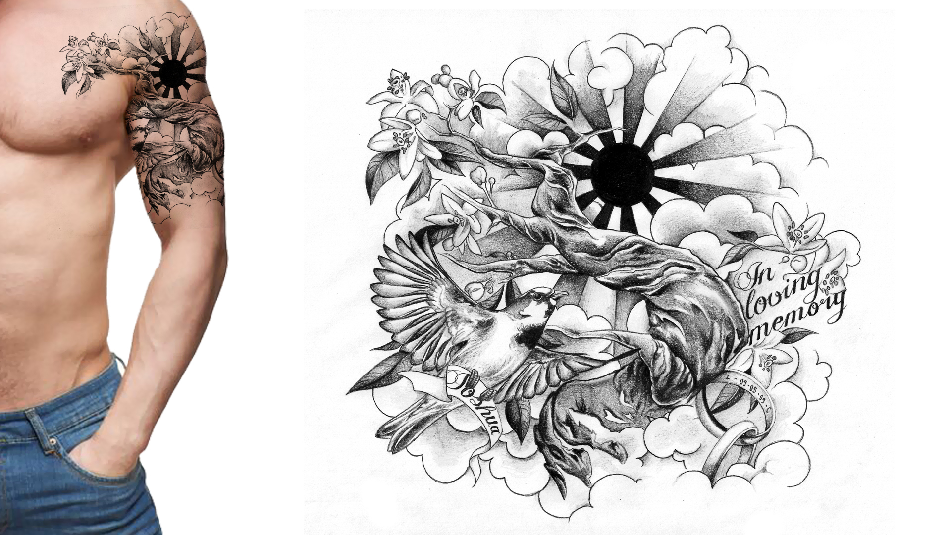 sleeve tattoo design memorial tattoo