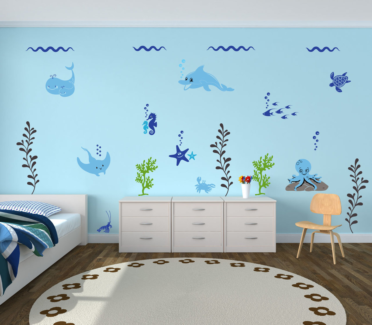 Ocean Inspired Decorating Ocean Themed Wall Decals For Decorating Kids Bedrooms