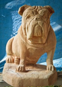 English Bulldog Carving  Custom Sculpture & Sign Company
