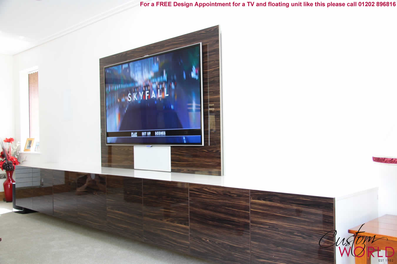 Floating Tv Wall Unit Fitted In Home Cinema Rooms Tv Stands And Units By Custom
