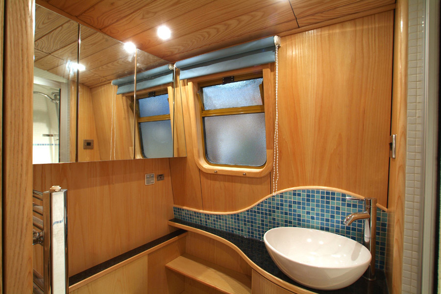 Black Cabinet With Glass Doors Cut Above Narrowboats - Outstanding, Unique Bespoke Fit