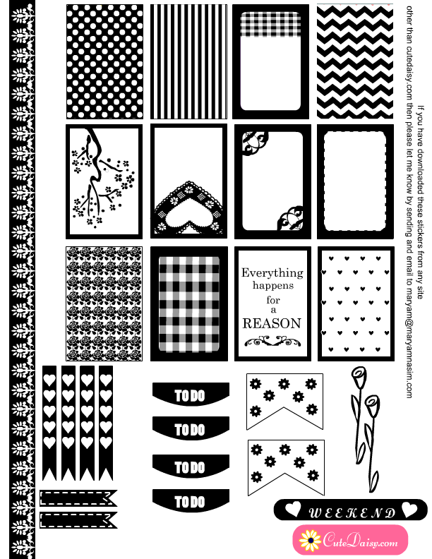 ... Printable Black and White Stickers for Erin Condren and Happy Planner