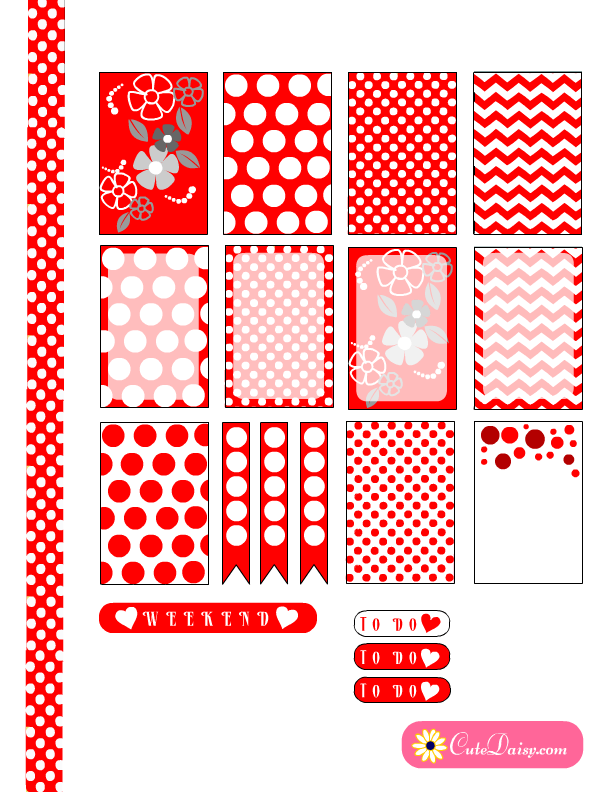 Free Printable Happy Planner Stickers with Red and White Polka Dots