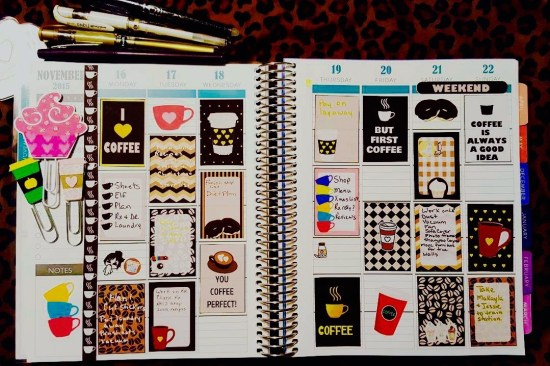 Free Printable Coffee themed stickers used in Planner