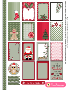 Cute free printable Christmas stickers for Happy Planner and ECLP