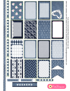 Denim and Lace Stickers for Happy Planner
