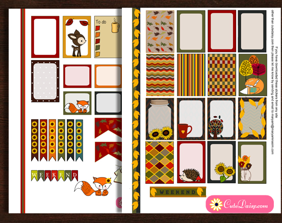 Free Printable Fall Stickers for Happy Planner and ECLP