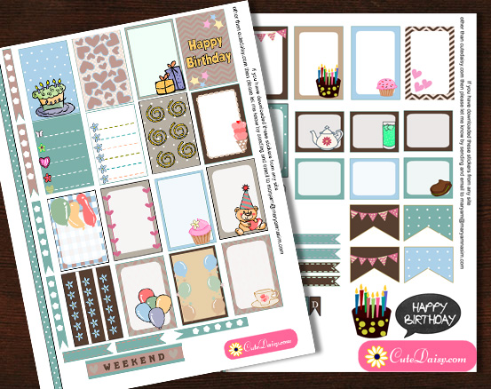 Free Printable Birthday Stickers for Classic Happy Planner